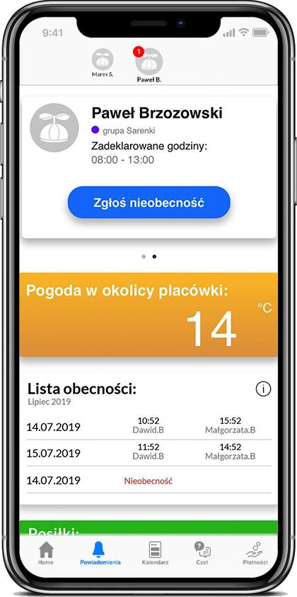 zrzut ekranu aplikacja KIDME Prywatne Przedszkole i Żłobek Kaczka Dziwaczka Poznań